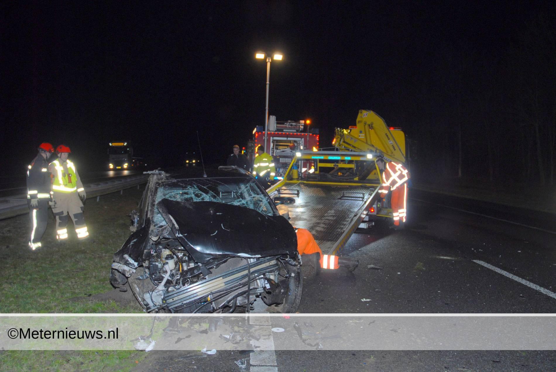 ongeval marum A7 auto tegen vangrail
