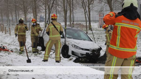 AUTO DE SLOOT IN NA SLIPPARYIJ GLADDE WEG IN DRENTSE EMMEN001
