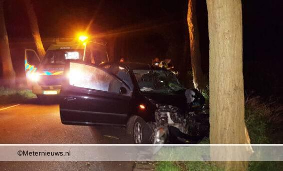 auto frontaal tegen boom in Staphorst